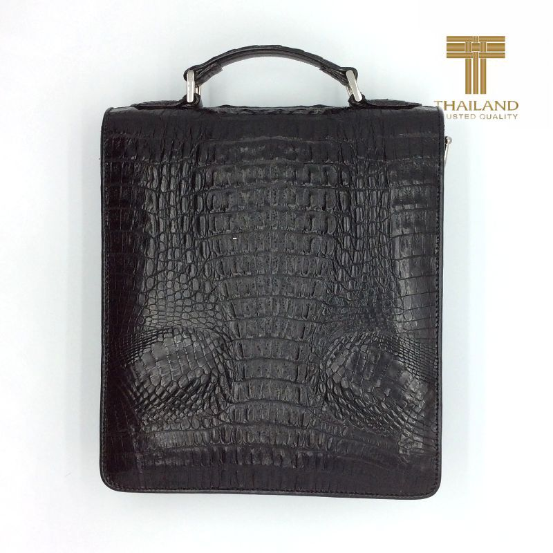 Giancarlo Genuine Crocodile Hornback Leather Mens Bag - black