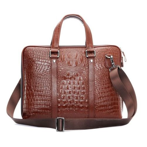 Chris Genuine Crocodile Aligator Leather Laptop Bag