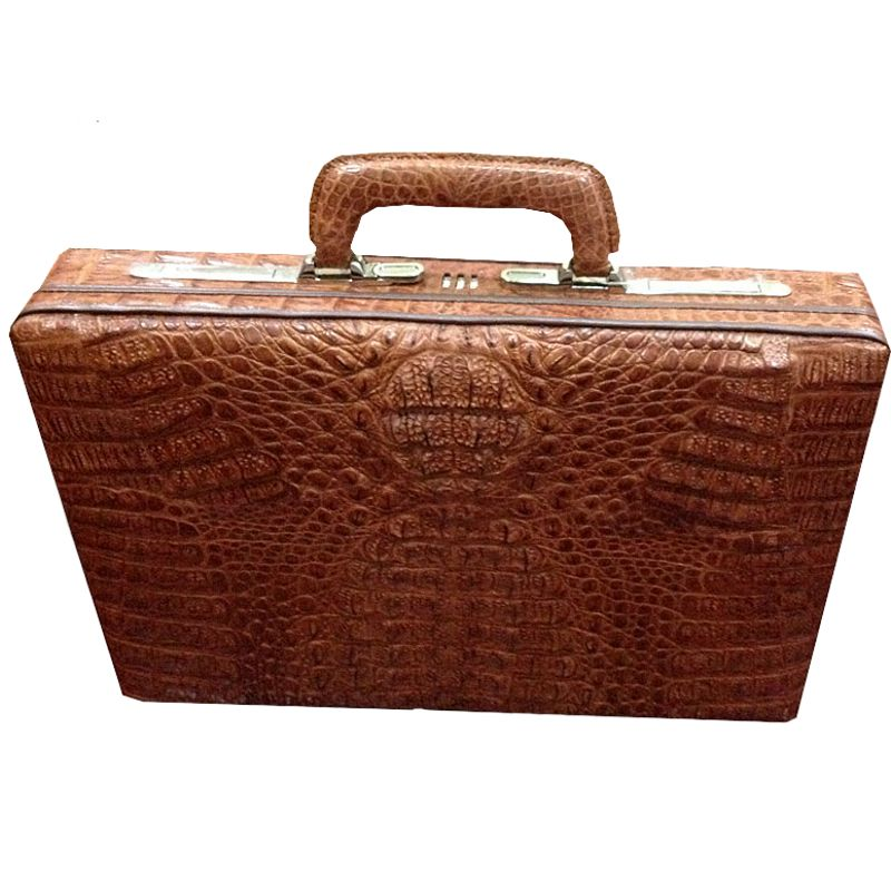 Alberto Genuine Crocodile Leather Mens Briefcase - brown