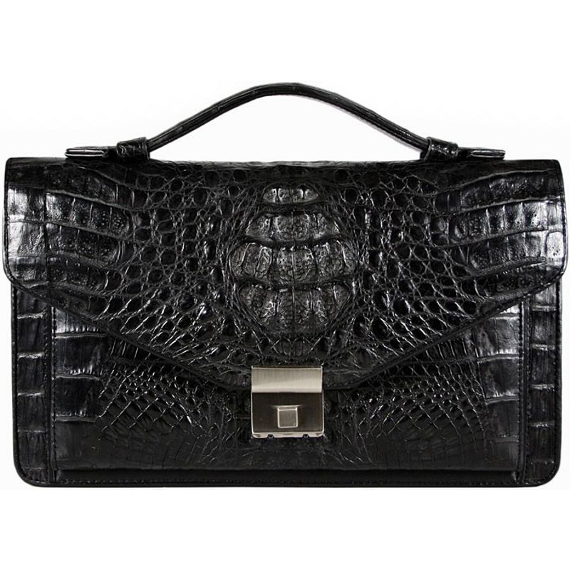 Carlo Genuine Crocodile Leather Mens Bag - black
