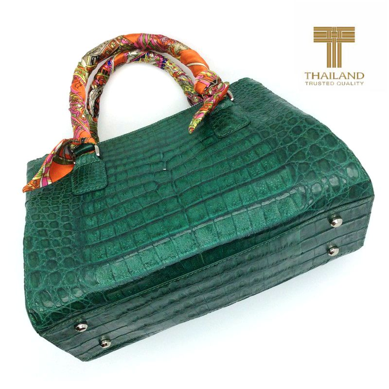Ariana Genuine Crocodile Belly Leather Bag - green