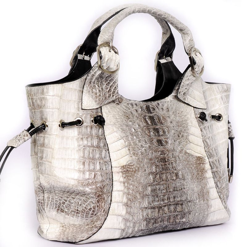 Brianna  Genuine Crocodile Hornback Leather Bag - white