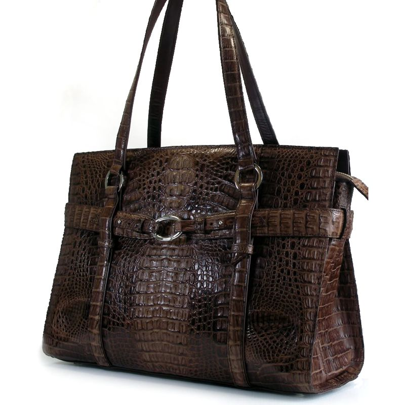 Arabella Genuine Crocodile Hornback Leather Bag - dark brown