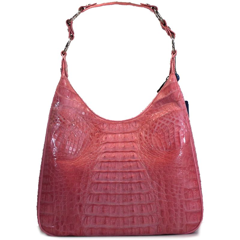 Angelica Genuine Crocodile Hornback Leather Bag - soft pink