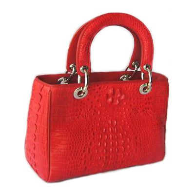Leila Crocodile Leather Bold Red Handbag - red
