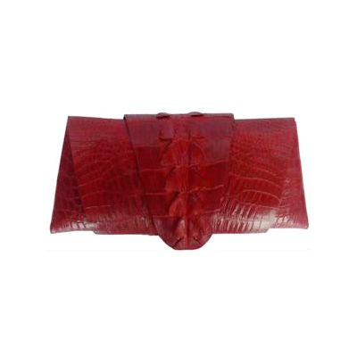 Rose Clutch Crocodile Leather Tail Twist - red