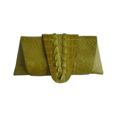 Rose Clutch Crocodile Leather Tail Twist - yellow