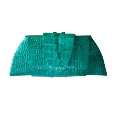Rose Clutch Crocodile Leather Tail Twist - green