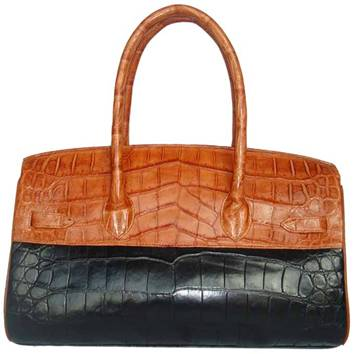 Mrs. Anna Crocodile Leather Ladies Bag - black/brown