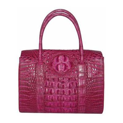 Veronica Crocodile Leather Ladies Bag - pink