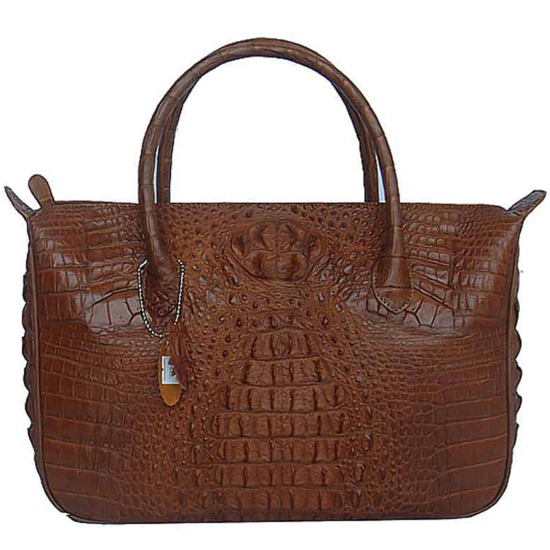Bianca Genuine Crocodile Hornback Leather Bag - brown