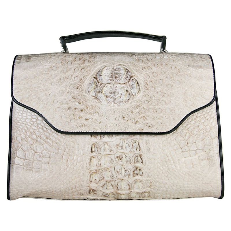 Laura Crocodile White Leather Bag
