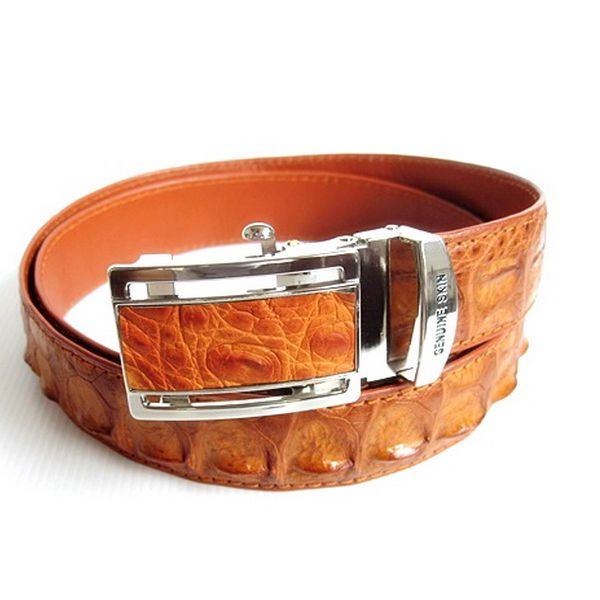 Brown Crocodile Leather Men's Belt 003