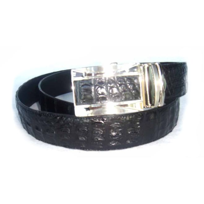 Classic genuine crocodile leather belt - black