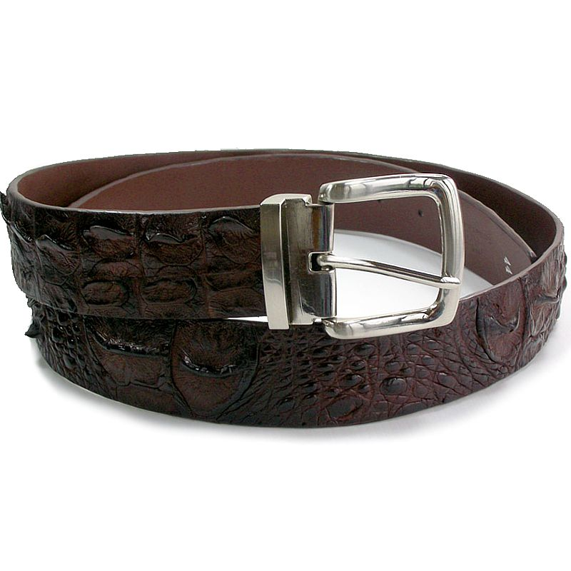 Dark Brown Crocodile Leather Mens Belt 002