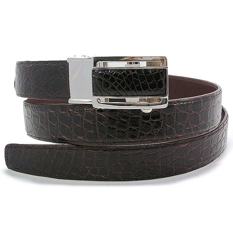Dark Brown Crocodile Leather Mens Belt 003
