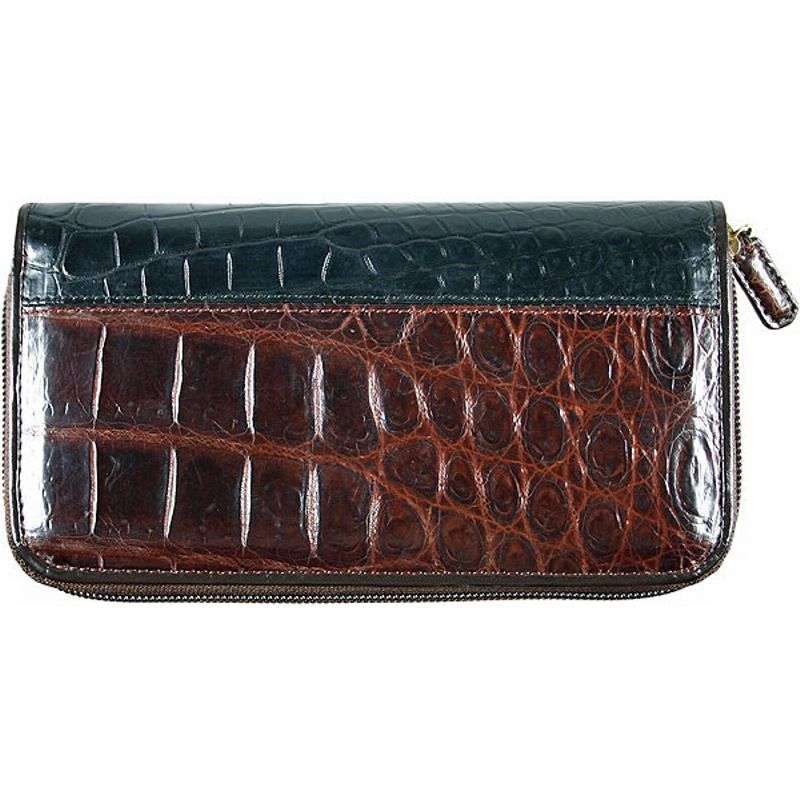 Genuine Crocodile Leather Ladies Wallet - black/brown