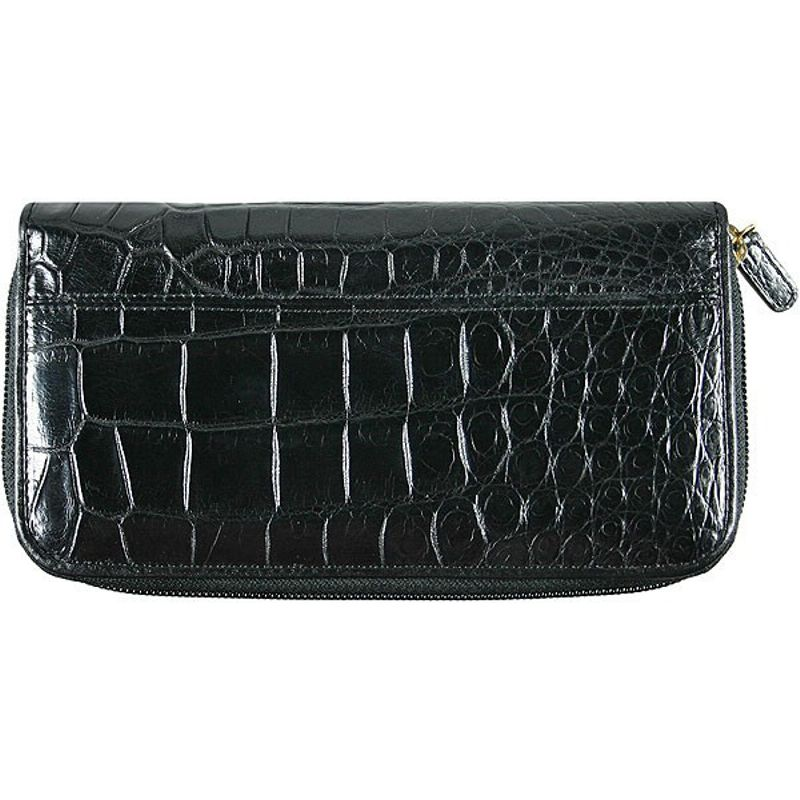 Genuine Crocodile Leather Ladies Wallet - black