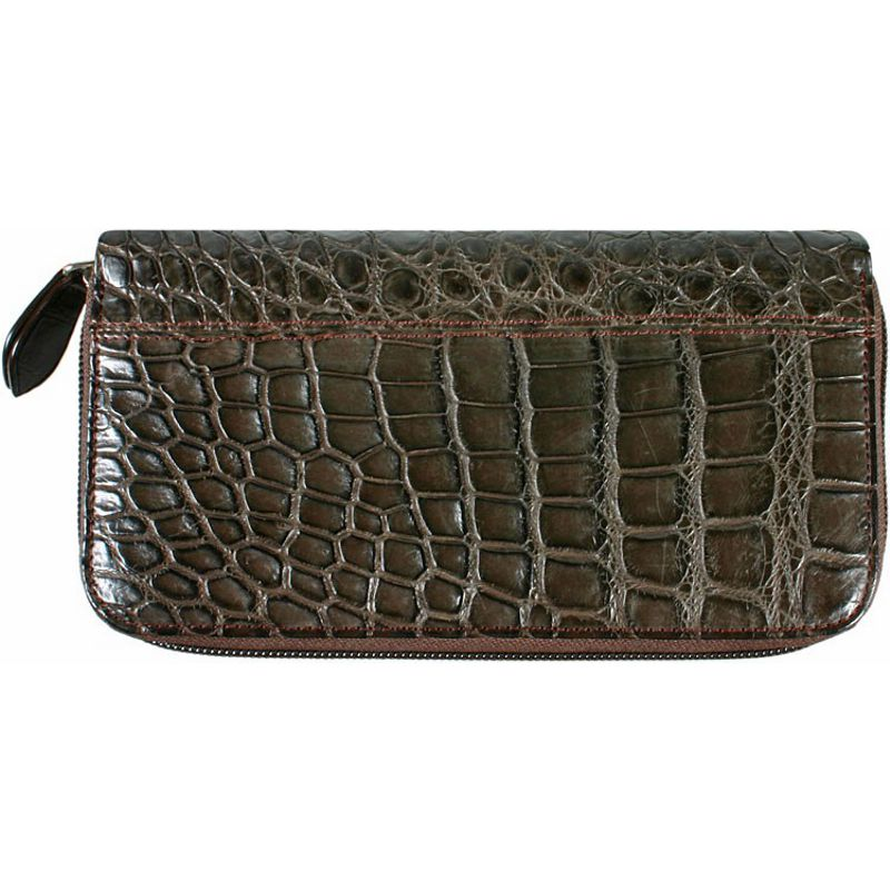 Genuine Crocodile Leather Ladies Wallet - dark brown