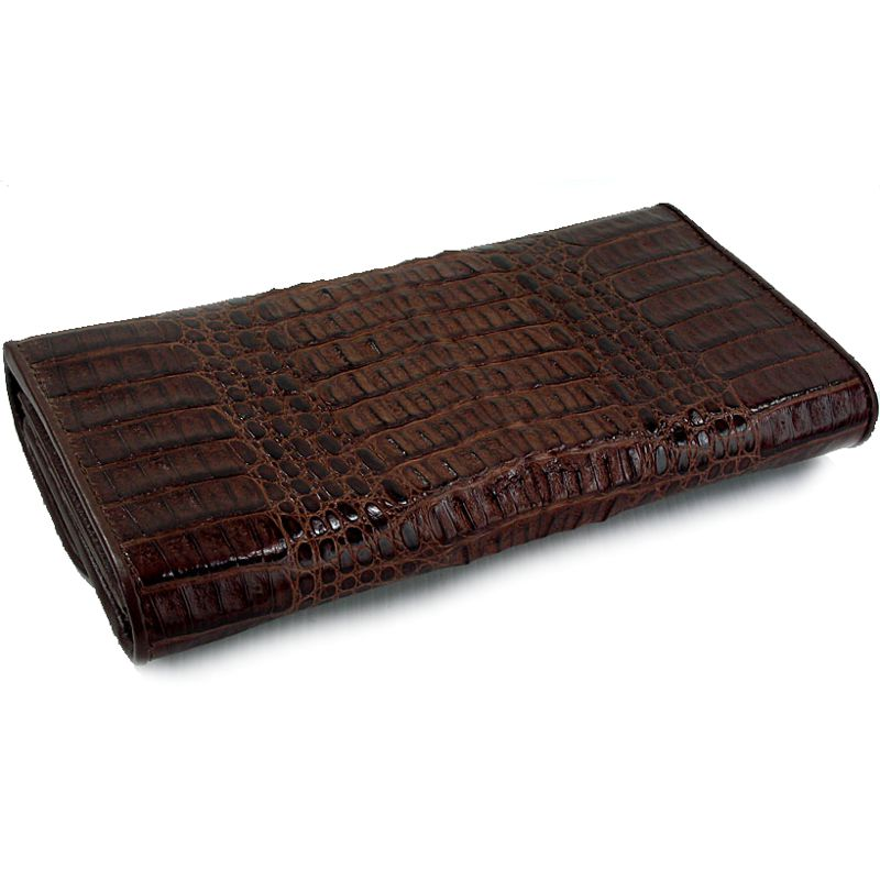 Genuine Crocodile Hornback Leather Clutch Wallet - dark brown