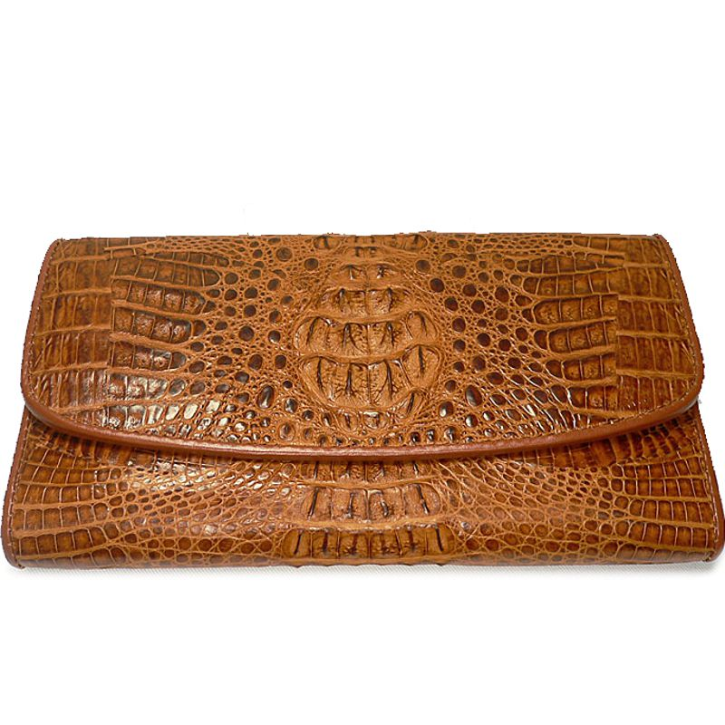 Genuine Crocodile Hornback Leather Clutch Wallet - brown