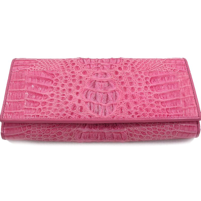 Genuine Crocodile Hornback Leather Clutch Wallet - pink