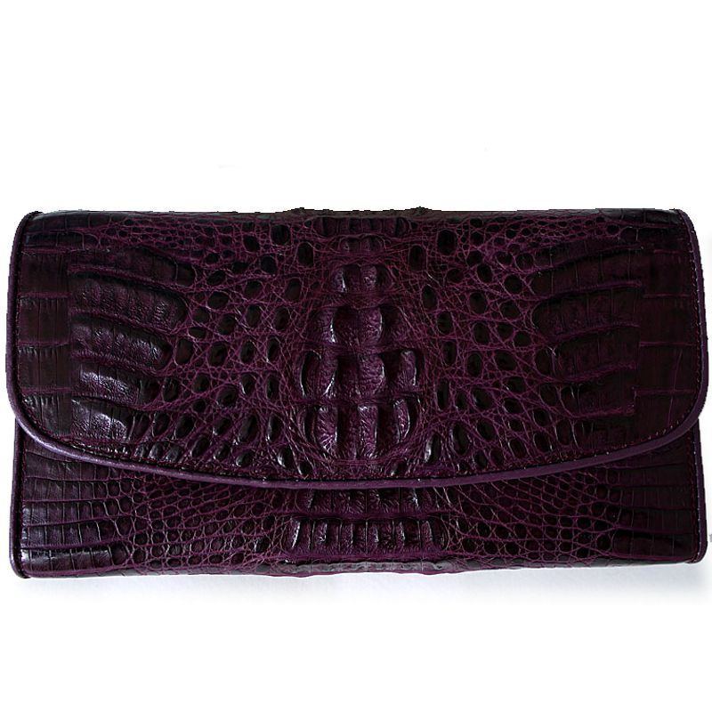 Genuine Crocodile Hornback Leather Clutch Wallet - violet