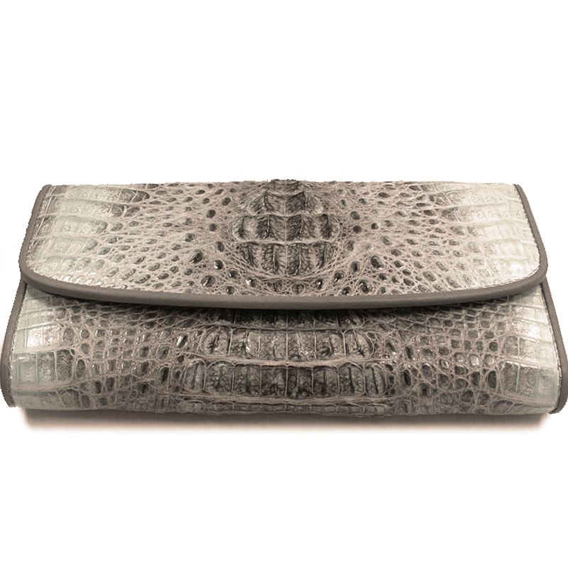 Genuine Crocodile Hornback Leather Clutch Wallet - white