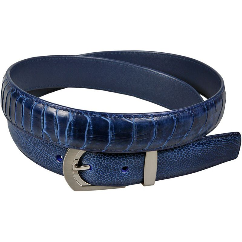Genuine Ostrich Leg Blue Leather Belt