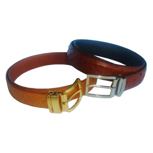 Brown Ostrich Leather Men's Belt 001
