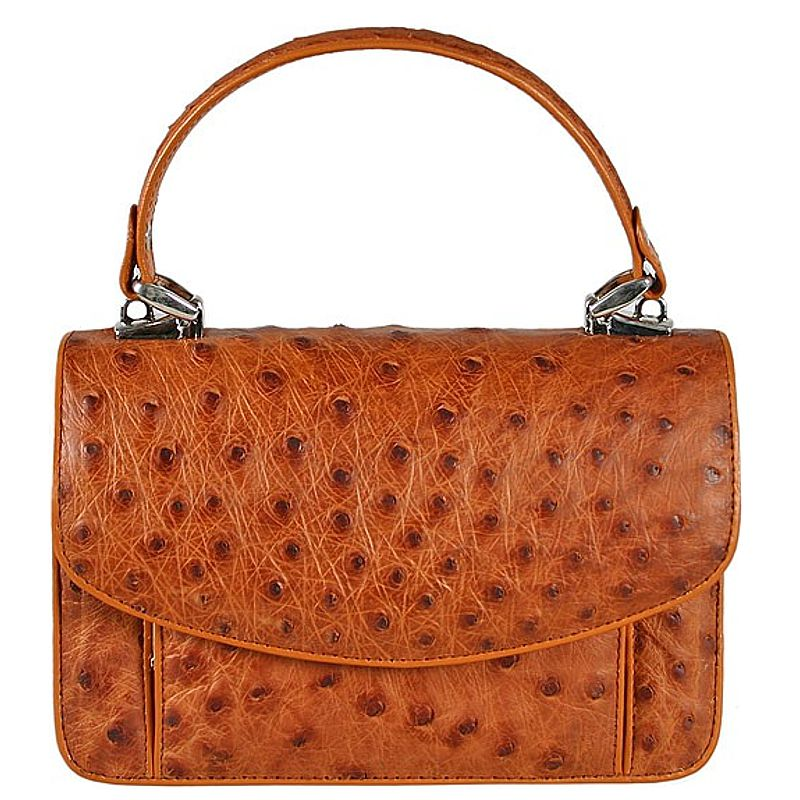 Franca Genuine Ostrich Leather Bag - brown