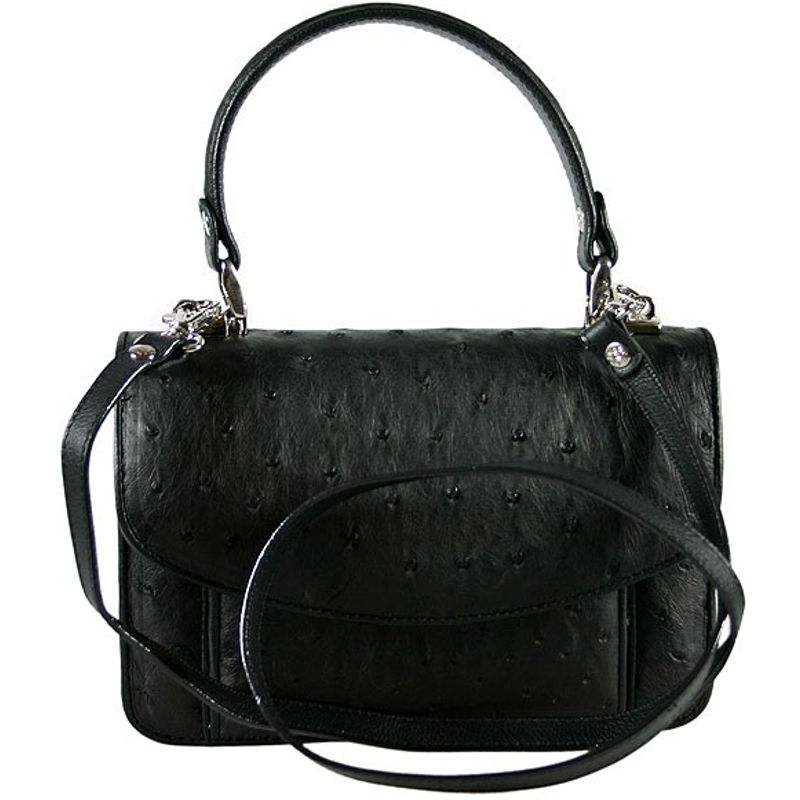 Franca Genuine Ostrich Leather Bag - black