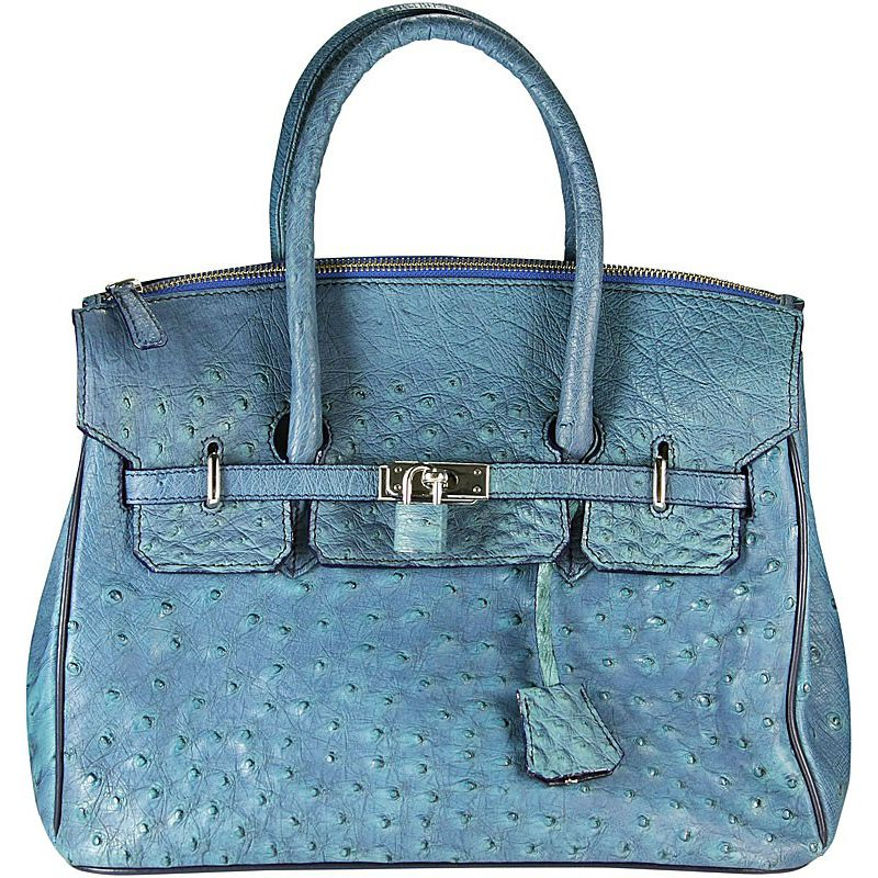 Anna Genuine Ostrich-Body Leather Bag - blue