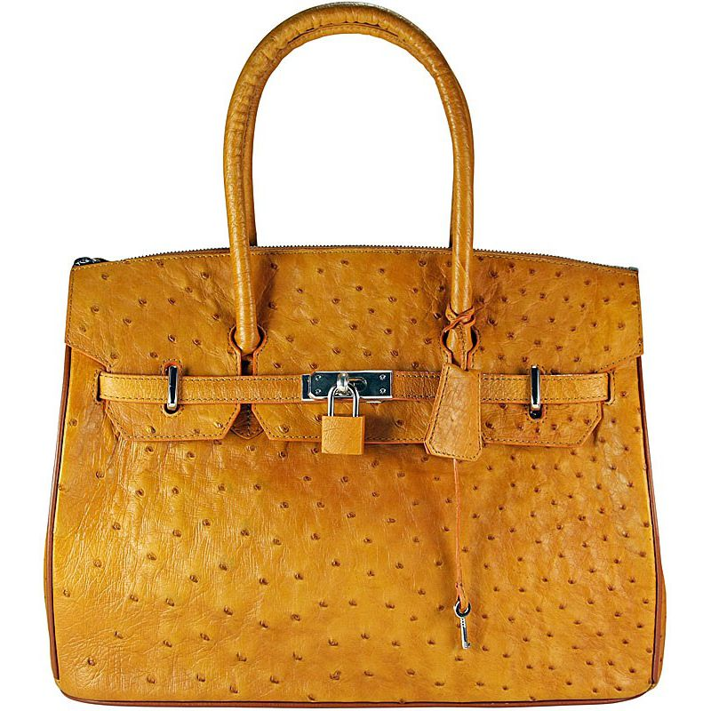 Anna Genuine Ostrich-Body Leather Bag - yellow
