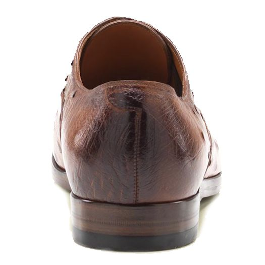 Genuine Ostrich Leather Mens Shoes  - brown, back