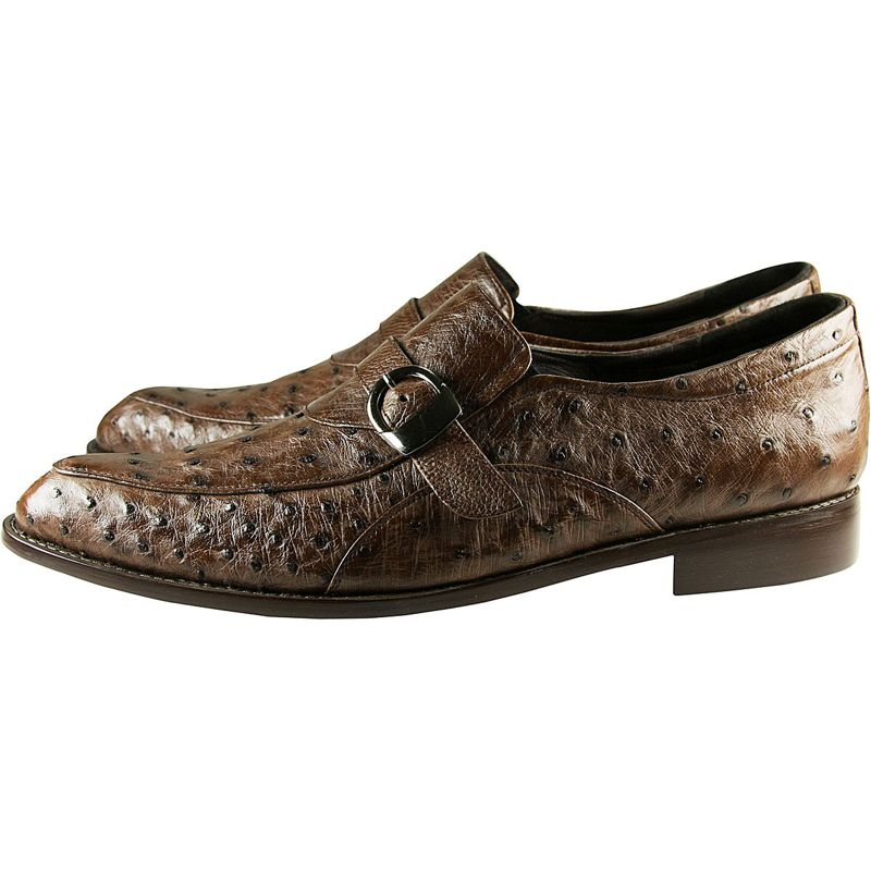 Genuine Ostrich Leather Mens Shoes - brown