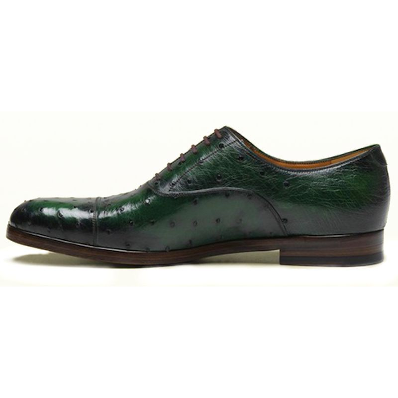 Genuine Ostrich Leather Mens Shoes - green