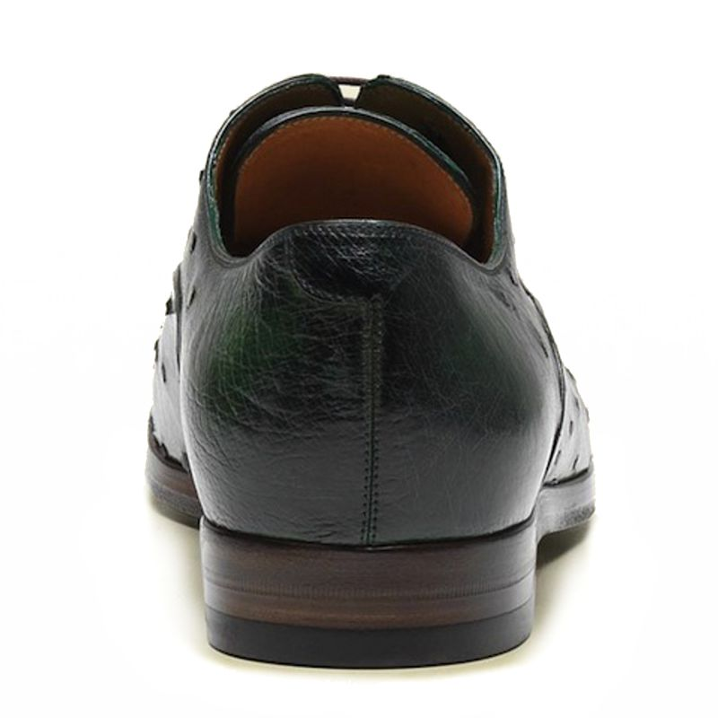 Genuine Ostrich Leather Mens Shoes - green, back