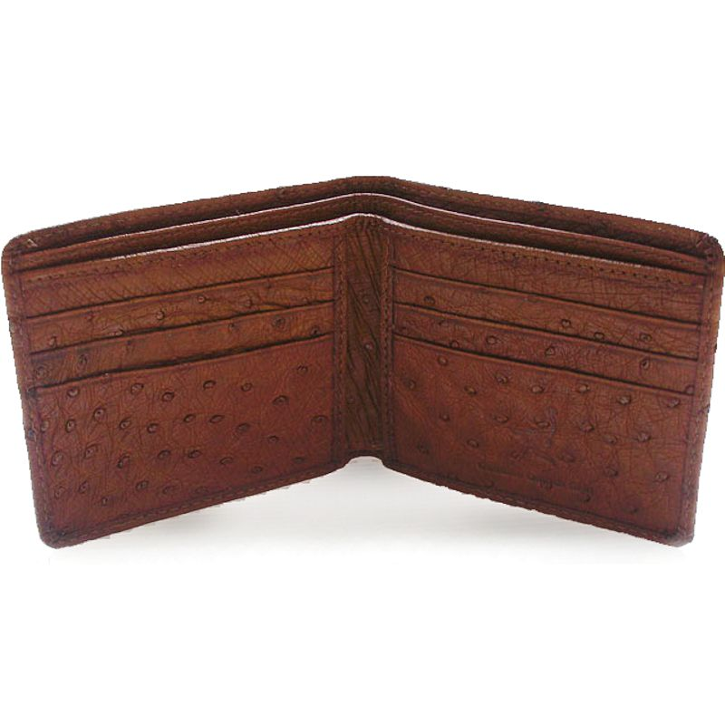 Genuine Ostrich Leather Mens Wallet - dark brown