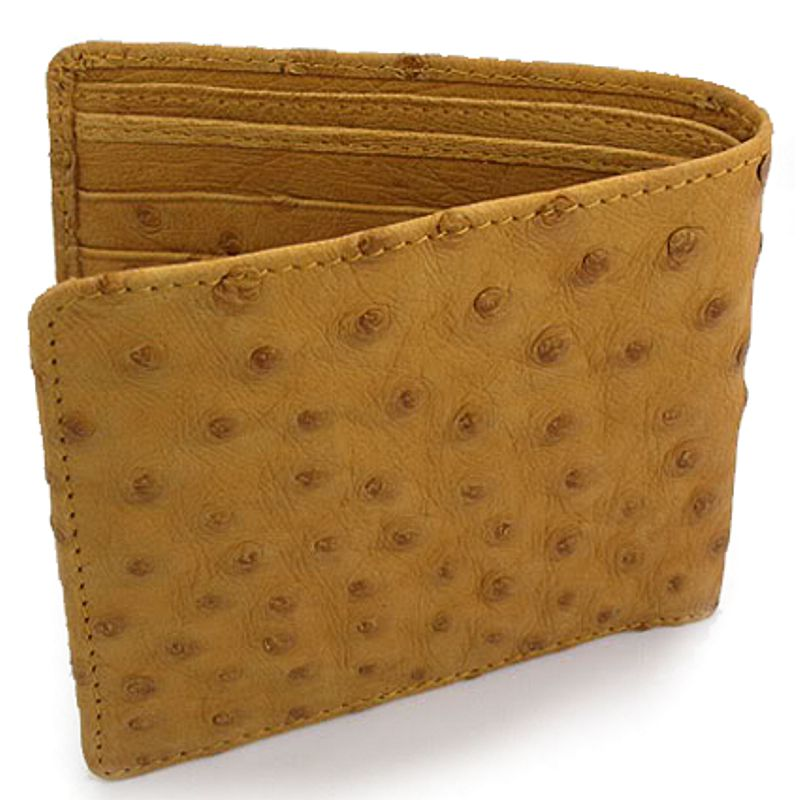 Genuine Ostrich Leather Mens Wallet - light brown