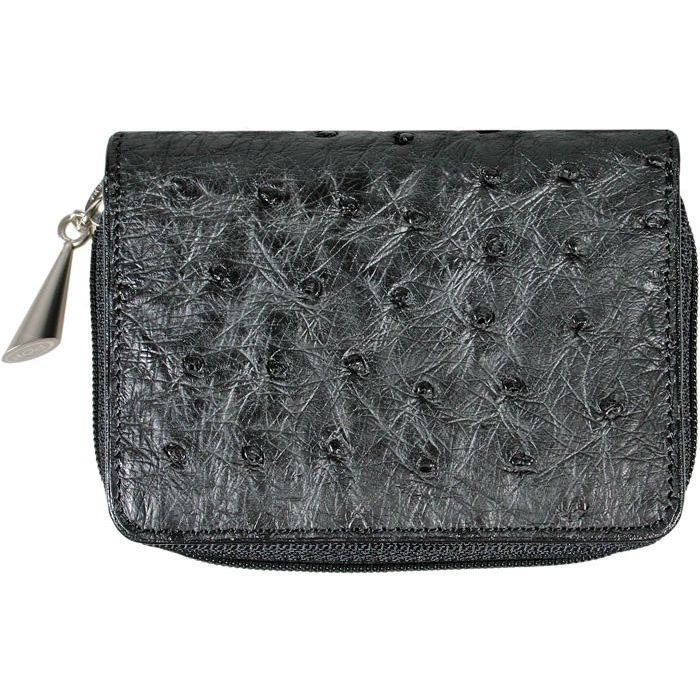 Genuine Ostrich Leather Wallet - black
