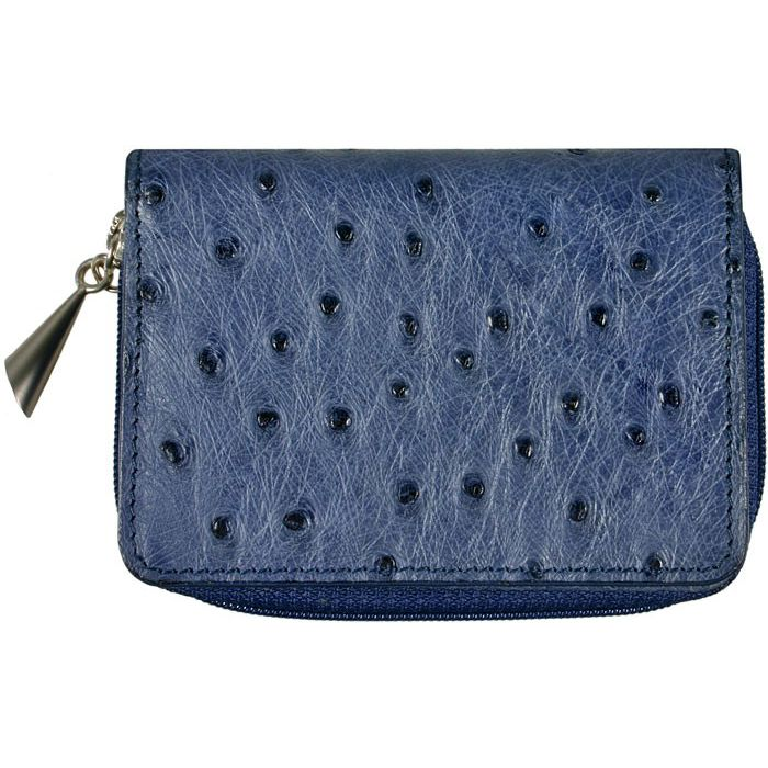 Genuine Ostrich Leather Wallet - blue