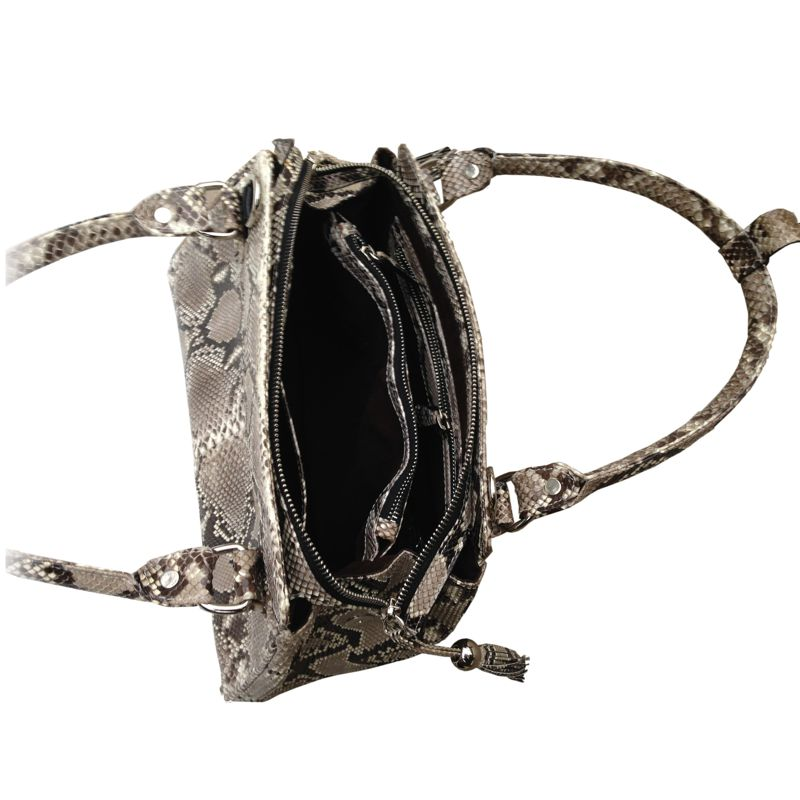 Kim Snake Python Leather Bag - open