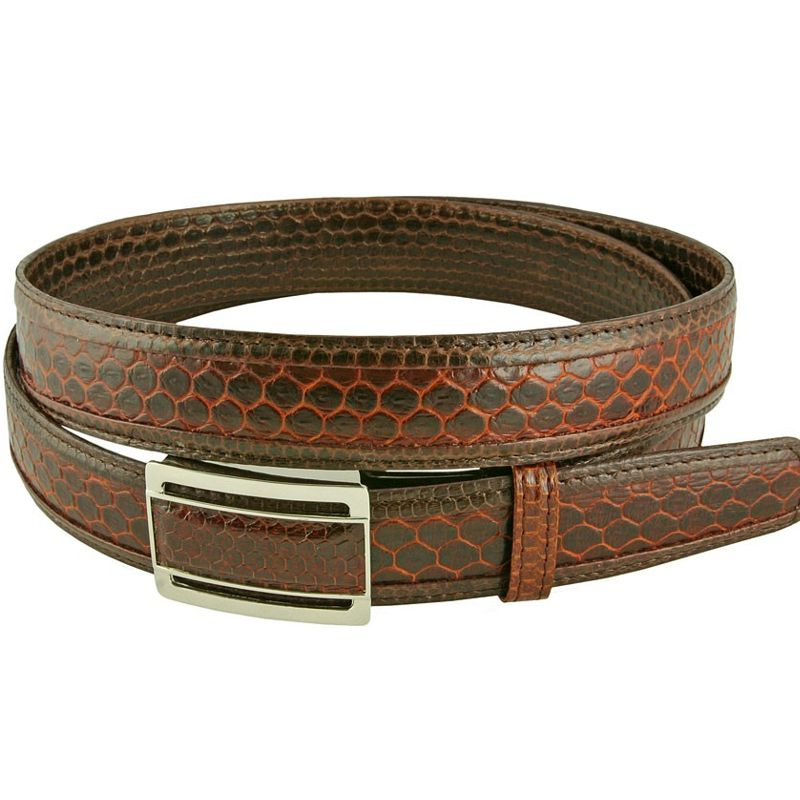 Genuine Sea Snake Leather Mens Belt - brown