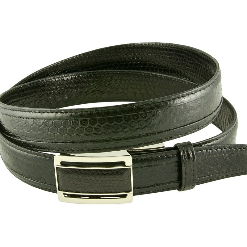 Genuine Sea Snake Leather Mens Belt - black
