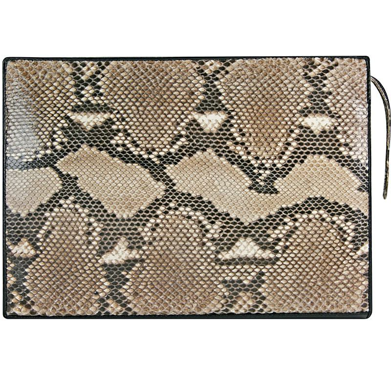 Giuseppe Genuine Python Snake Leather Mens Handbag - natur
