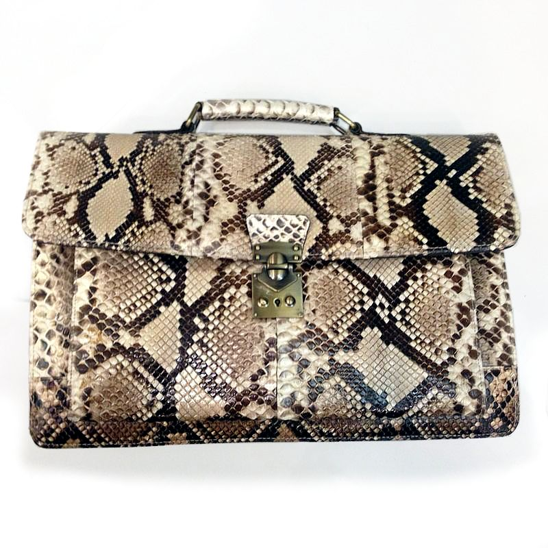 Amedeo Genuine Python Snake Leather Mens Bag