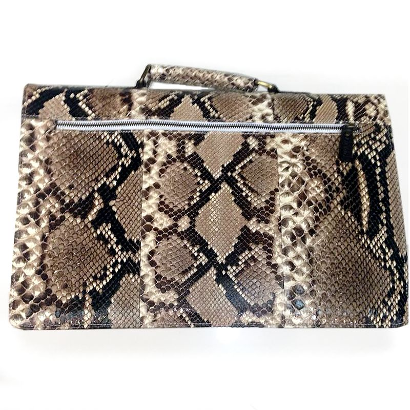 Amedeo Genuine Python Snake Leather Mens Bag - natur