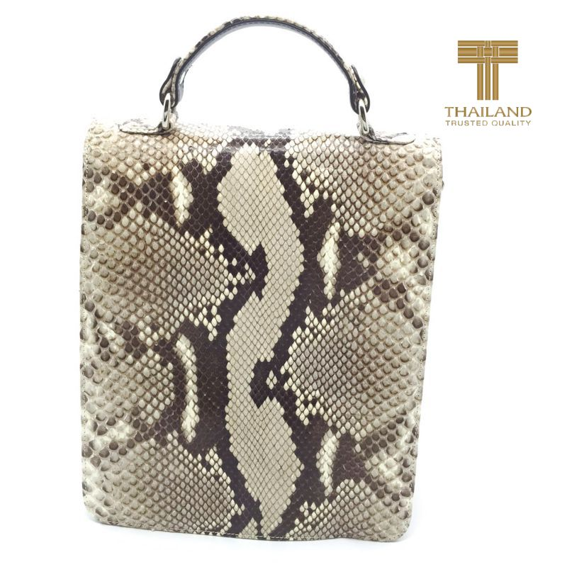 Giancarlo Genuine Python Snake Leather Mens Bag - natur