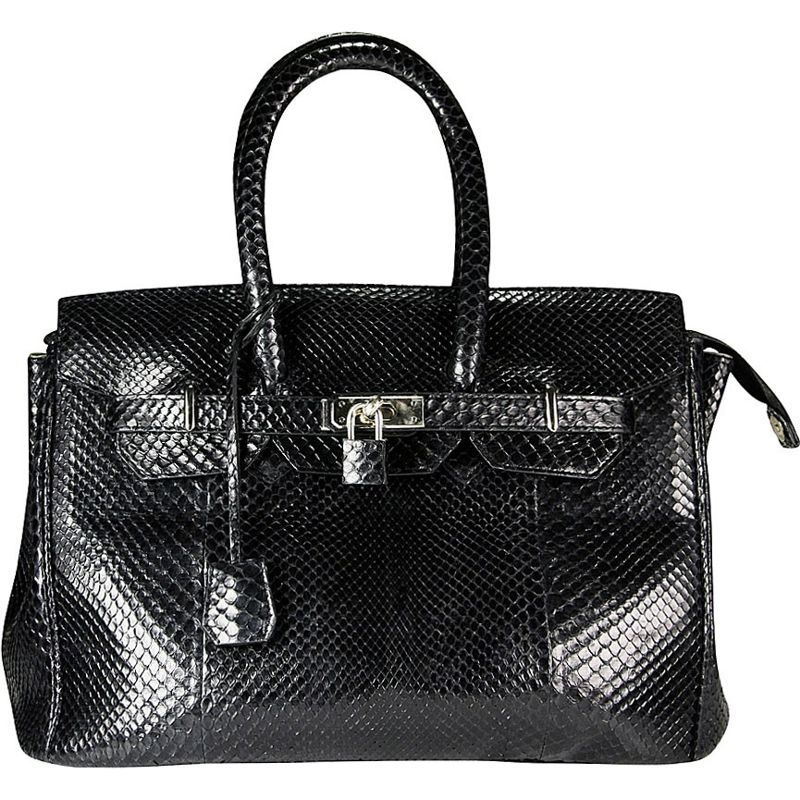 Marianne Snake Python Leather Bag - black